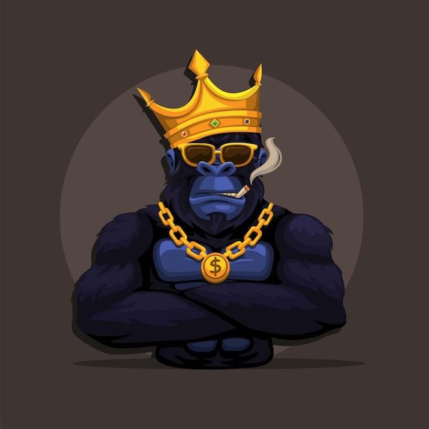 Gorilla king kong aap draag kroon en rokende mascotte symbool cartoon illustratie vector