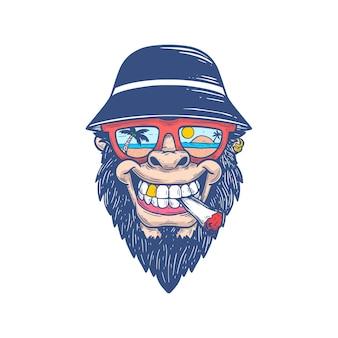 Gorilla king kong head vakantiebril bucket hat