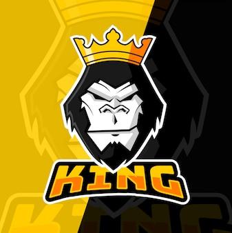 Gorilla king mascotte esport logo ontwerp