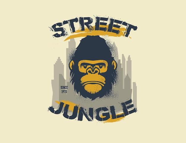 Gorilla king of the street. straat jungle. illustratie
