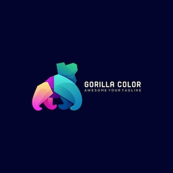 Gorilla kleurverloop modern logo sjabloon
