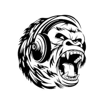 Gorilla luistert naar muziek met oortelefoons