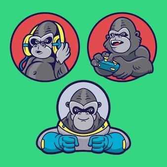 Gorilla luistert naar muziek, speelt games en wordt een mascotte-illustratiepakket met astronautdierlogo's