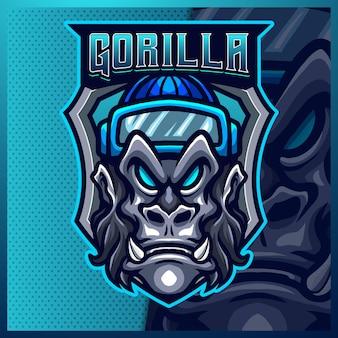 Gorilla mascotte esport logo ontwerp illustraties