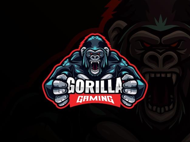 Gorilla mascotte esport logo ontwerp