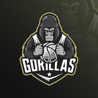 Gorilla mascotte logo met moderne illustratie