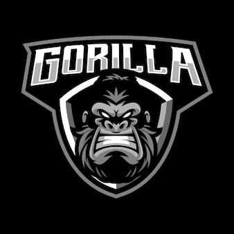 Gorilla mascotte logo ontwerp geïsoleerd op zwart