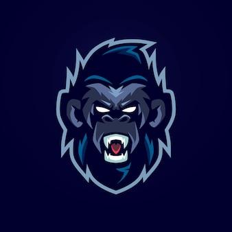 Gorilla mascotte logo sjabloon Premium Vector
