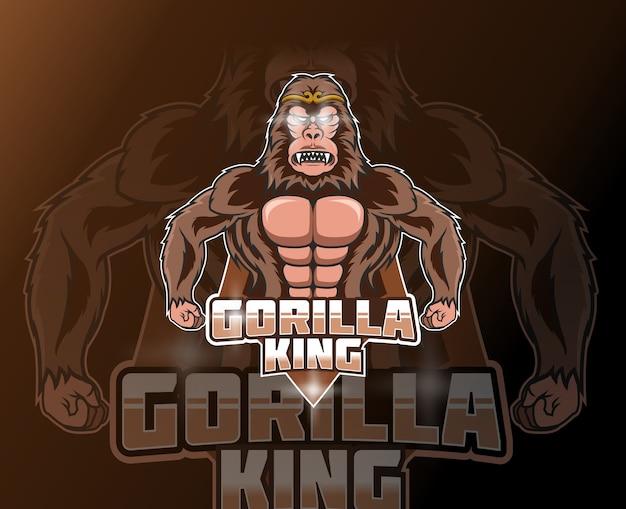 Gorilla-mascotte voor sport en esports-logo geïsoleerd op donkere achtergrond