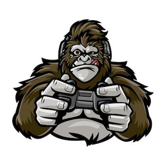 Gorilla met afbeelding van gamecontroller