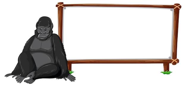 Gorilla met houten frame horizontaal geïsoleerd op wit