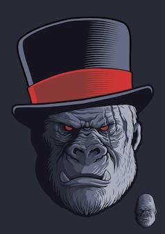Gorilla met littekens met hoge hoed