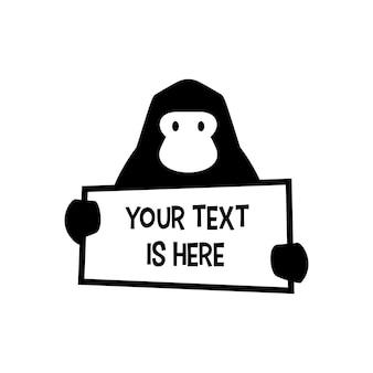 Gorilla met papier tekst teken logo vector pictogram illustratie