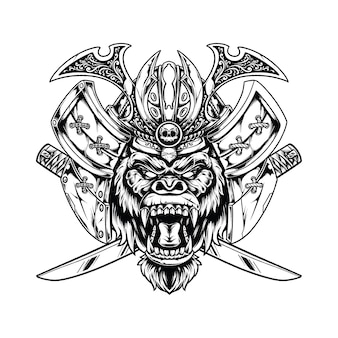 Gorilla samurai illustratie concept