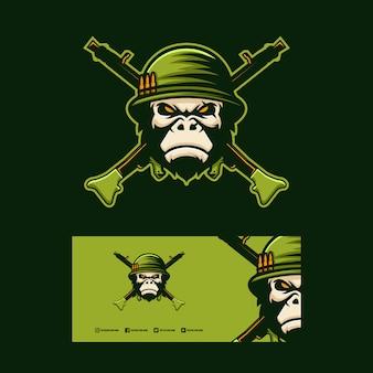 Gorilla soldaat logo ontwerp.