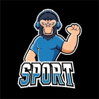 Gorilla sport en esport gaming mascotte logo