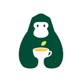Gorilla thee blad drinken negatieve ruimte logo vector pictogram illustratie