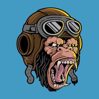 Gorillahoofd met piloothelm