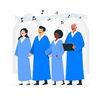 Gospel koor concept illustratie