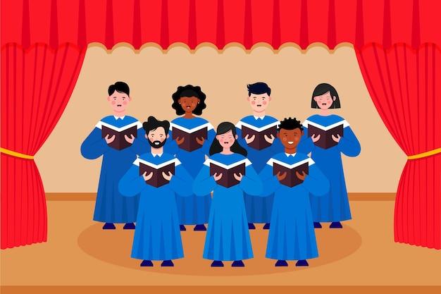 Gospel koor illustratie