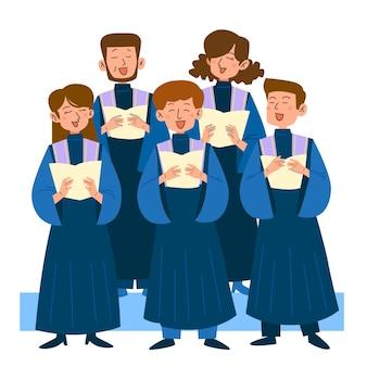 Gospel koor zingen illustratie
