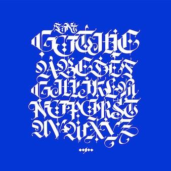 Gotisch, engels alfabet geschreven in krijt.
