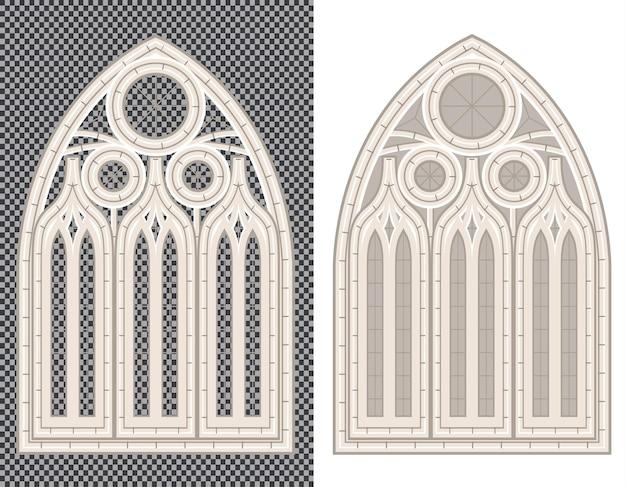 Gotisch middeleeuws stenen raam op wit