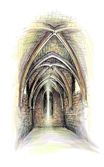 Gotische architectuurhal. kasteel binnen. kerk binnen. illustratie
