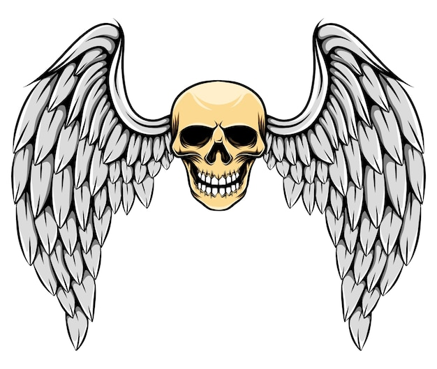 Gotische illustratie van dode schedel met grote veervleugels