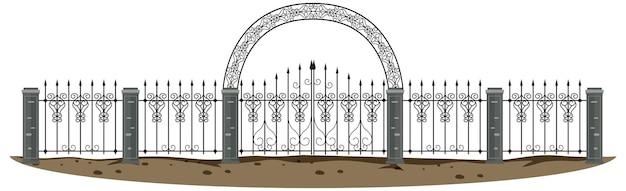 Gotische metalen poort op witte achtergrond