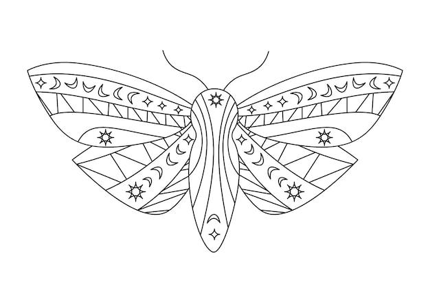 Gotische nachtvlinder silhouet in kaderstijl. schoonheid nacht vlinder
