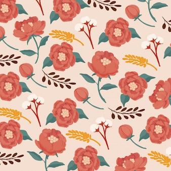Gouache ondoorzichtige aquarel rode pioenrozen naadloze patroon