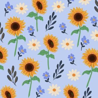 Goucahe zomer zonnebloem in blauwe naadloze patroon