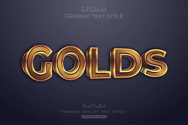 Goud 3d bewerkbare teksteffect lettertypestijl