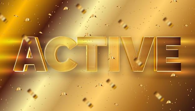 Goud actief bewerkbaar teksteffect
