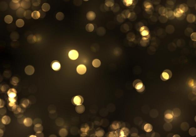 Goud bokeh wazig licht geïsoleerd op zwart