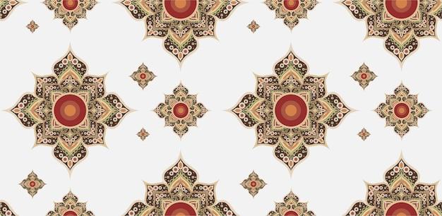 Goud en rood thais patroon.
