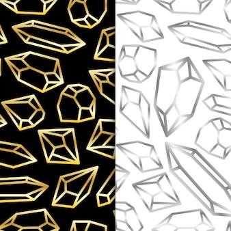 Goud- en zilverkleurige omtrek voor luxe edelsteen diamantkristal premium vector