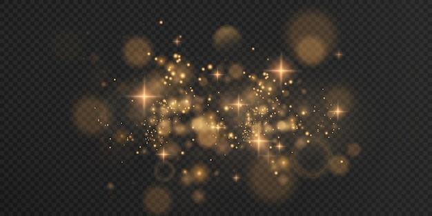Goud fonkelend stof met gouden fonkelende sterren op een transparante achtergrond