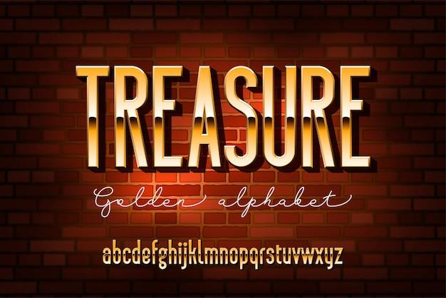 Goud gecondenseerd modern alfabet. sans serif metalen lettertype. technologie typografie gouden letters.