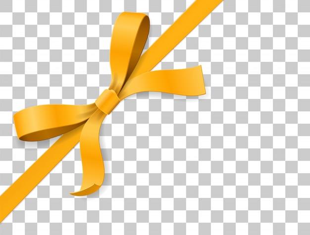 Goud, geel boog knoop en lint op witte achtergrond. proficiat met je verjaardag, kerst, nieuwjaar, bruiloft, valentijnskaart of doospakket. bovenaanzicht van de illustratie van de close-up