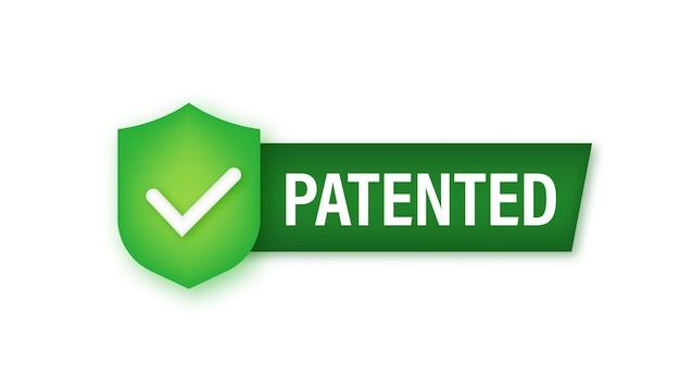 Goud gepatenteerd label op rood lint op witte achtergrond. vector voorraad illustratie.