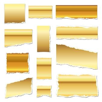 Goud gescheurd papier. gescheurde papiersnippers met schaduwen. gouden stukjes papier geïsoleerd. illustratie. gescheurde papieren stroken