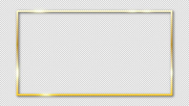 Goud glanzend gloeiend frame geïsoleerd op transparant
