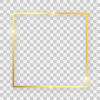 Goud glanzend vierkant frame met gloeiende effecten en schaduwen op transparante achtergrond. vector illustratie