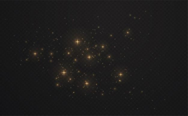 Goud glanzend vonken stof met sterren op donker transparant