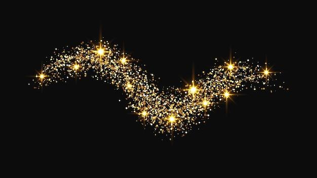 Goud glinsterende confetti golf en sterrenstof. gouden magische schittert op donkere achtergrond. vector illustratie