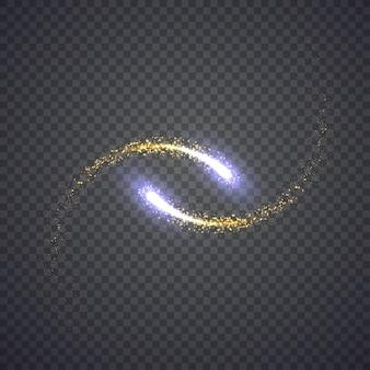 Goud glinsterende ster stof lichten cirkel. illustratie geïsoleerd op de achtergrond. grafisch concept voor uw ontwerp