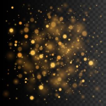 Goud glinsterende sterrenstof vector transparant gloed lichteffect