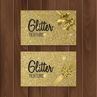 Goud, glitter achtergrond met realistische strik. illustratie